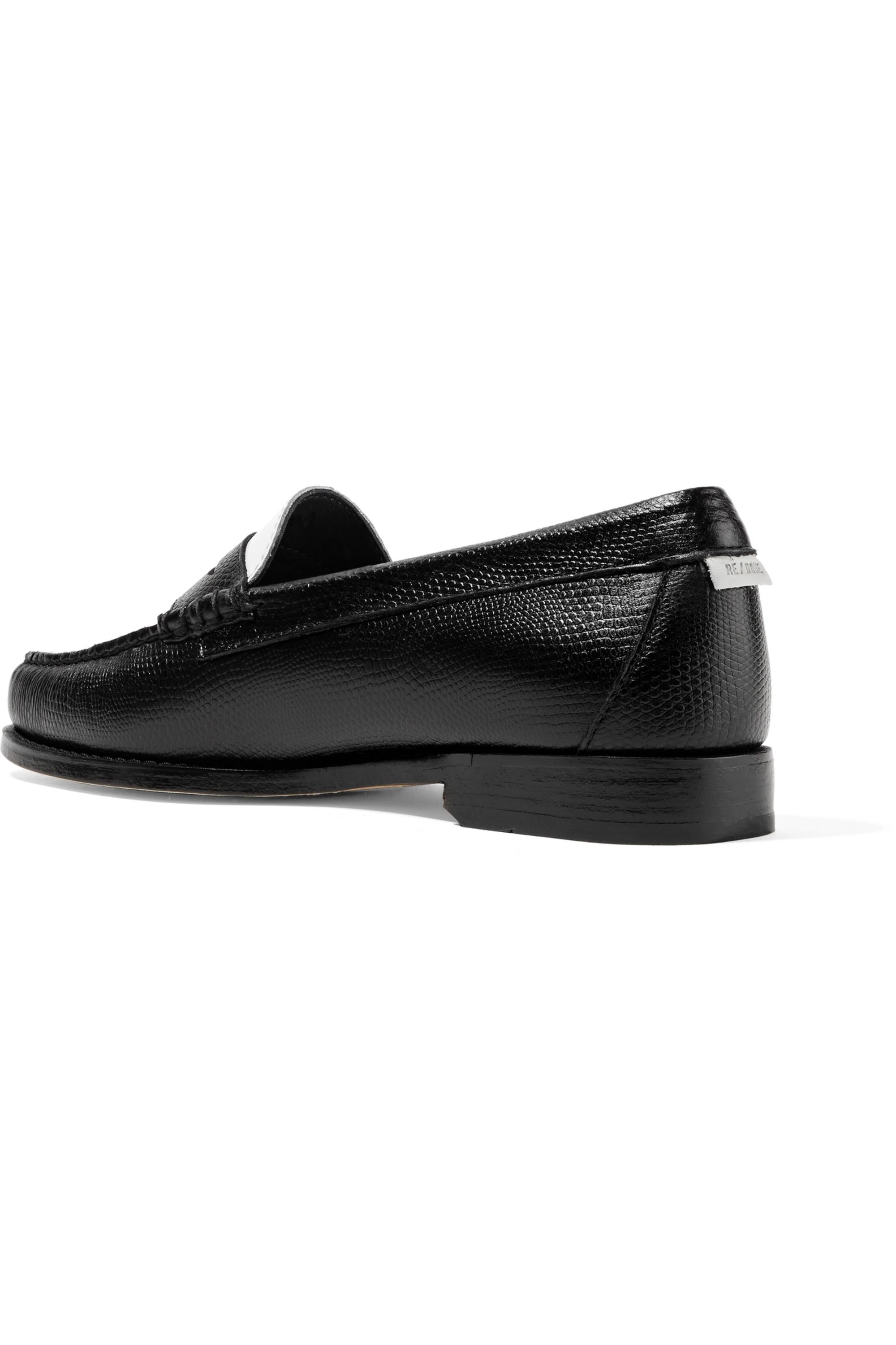 RE/DONE + Weejuns The Whitney patent and lizard-effect leather loafers