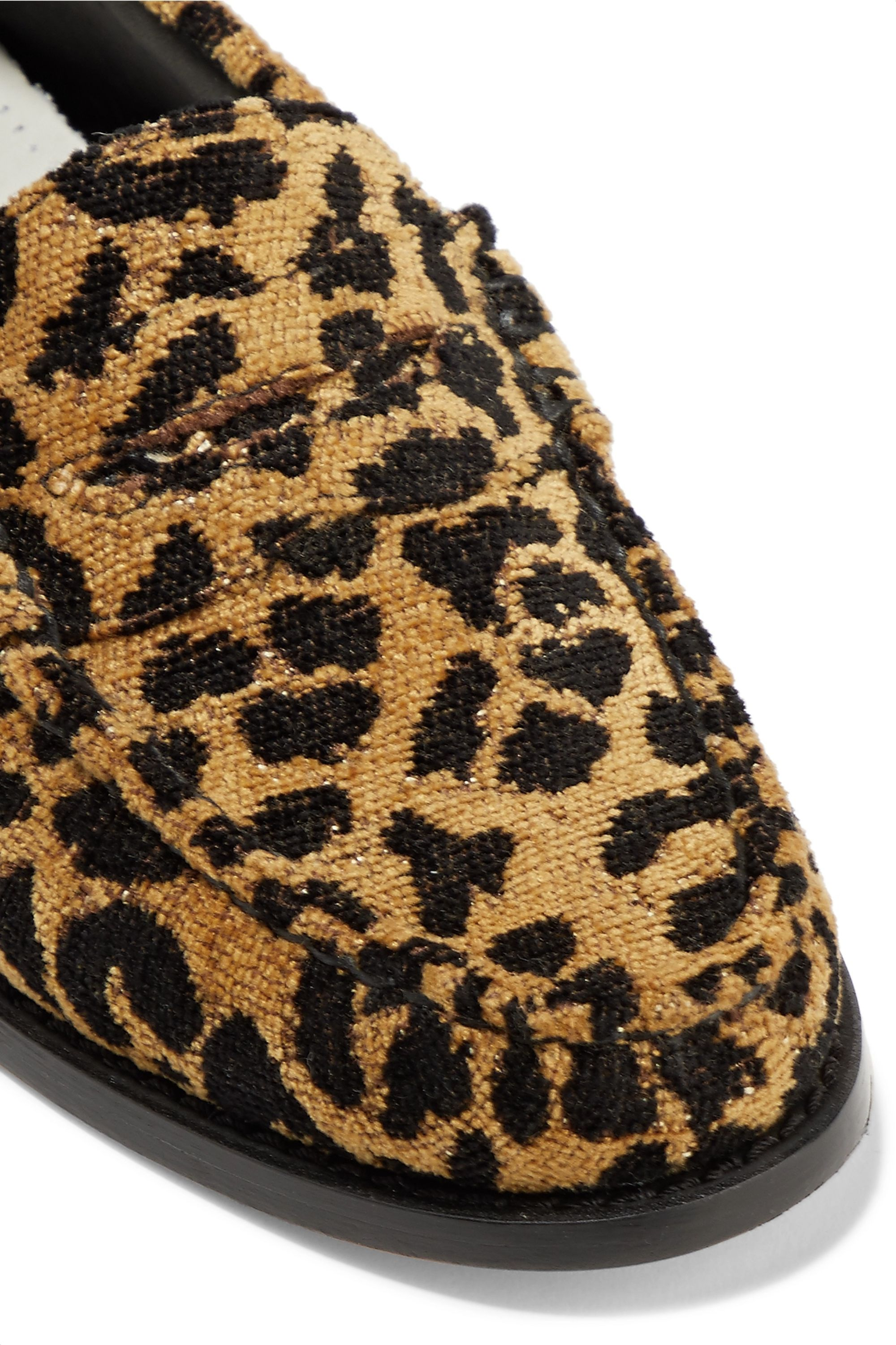 RE/DONE + Weejuns The Whitney leopard-print terry loafers