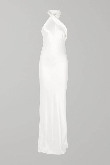 White Silk-satin halterneck gown   Galvan XQEEi3