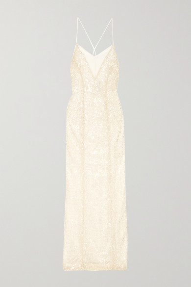 Hollywood Paillette Embellished Metallic Tulle Gown by Galvan