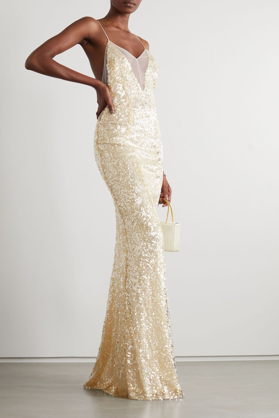 Galvan Hollywood paillette-embellished metallic tulle gown