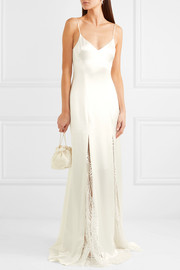 Windmill lace-paneled crepe gown