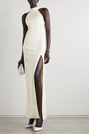 Palm Beach ribbed jersey halterneck gown