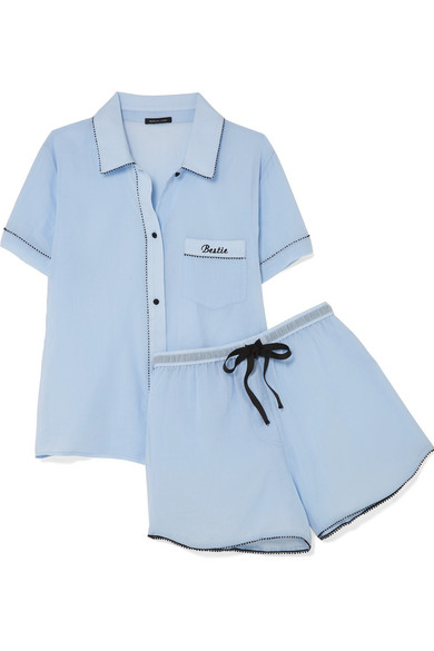 Clearance Browse Sale 2018 New Bestie Embroidered Cotton-gauze Pajama Set - Light blue Morgan Lane Outlet Pre Order Outlet Get Authentic C35KIcbw