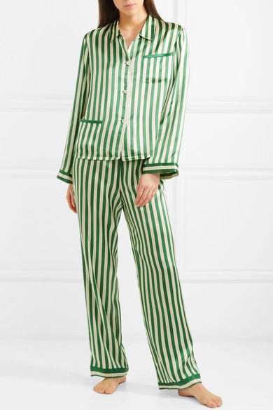 f87190d1a7a92 MORGAN LANE RUTHIE STRIPED SILK-CHARMEUSE PAJAMA TOP