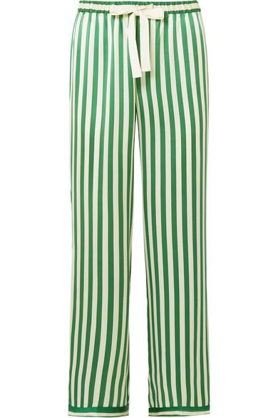 Chantal Striped Silk Charmeuse Pajama Pants by Morgan Lane