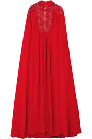 Cape-effect embellished silk-blend crepe de chine gown