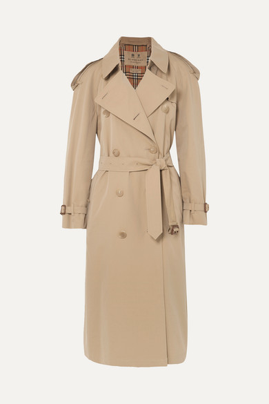 The Westminster Long Cotton-Gabardine Trench Coat, Beige