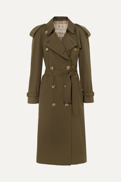 The Westminster Long Cotton-Gabardine Trench Coat in Green