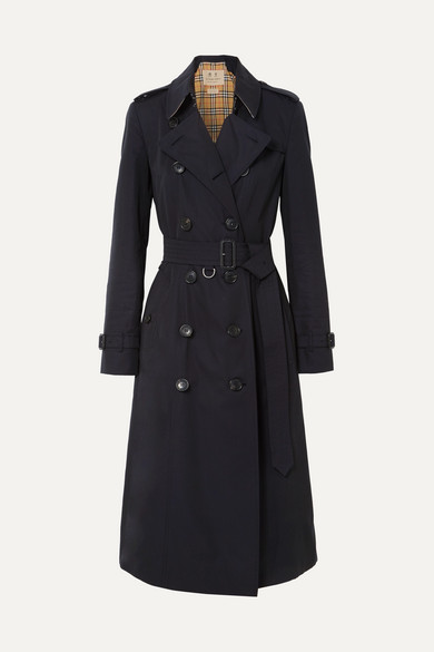 The Chelsea Long Cotton-Gabardine Trench Coat in Midnight Blue