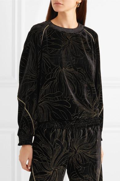 Chloé Bedrucktes Sweatshirt aus Samt mit Raffungen