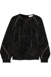 Smocked printed velvet sweatshirt
