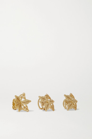 MALLARINO Oriana Set Of Three Gold Vermeil Ear Cuffs And Earring