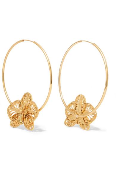MALLARINO Orquídea gold vermeil hoop earrings