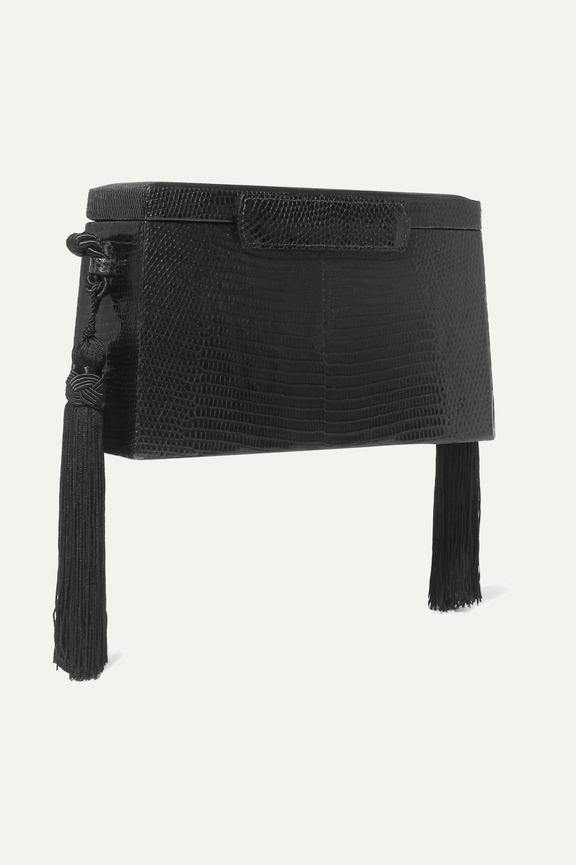 Hunting Season Square Trunk tasseled lizard shoulder bag