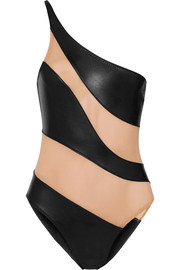 Norma Kamali Mio one-shoulder mesh-paneled swimsuit