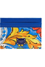Maiolica printed textured-leather cardholder