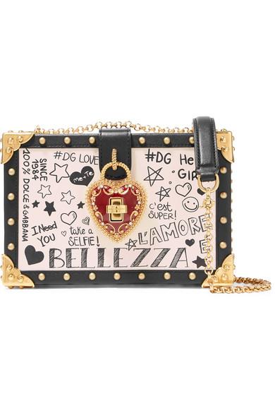 Dolce Box Embellished Leather Shoulder Bag, Ivory