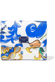French Square printed textured-leather wallet