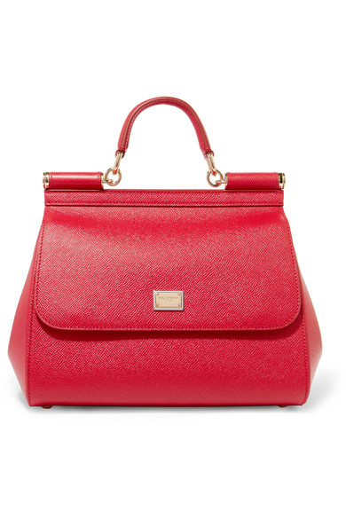 Dolce & Gabbana Sicily Medium Textured-leather Tote In Red