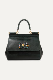 Dolce & Gabbana Sicily small embellished lizard-effect leather tote