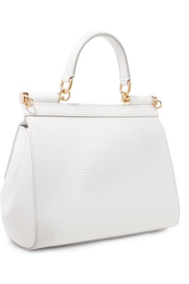 Dolce & Gabbana - Sac à Main En Cuir Effet Lézard à Ornements Sicily Small - Blanc OzX1D8
