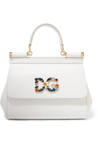 Dolce   Gabbana Sicily Small Embellished Lizard-Effect Leather Tote In White d92161edb7f6f