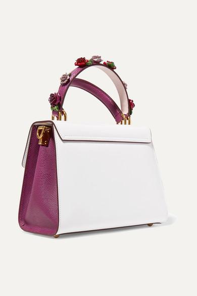 Dolce & Gabbana - Sac à Main En Cuir Lisse Et Effet Lézard à Appliqué Welcome Medium - Blanc UrQVIvJO
