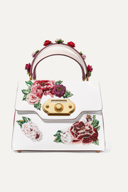 Dolce & Gabbana Welcome medium appliquéd smooth and lizard-effect leather tote