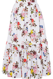 Leight tiered floral-print cotton-poplin maxi skirt