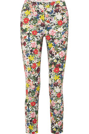 Sidney floral-print stretch-cotton slim-leg pants