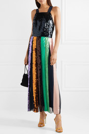 Tibi Sequined silk-chiffon midi dress