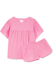 Anna ruffled cotton-flannel pajama set