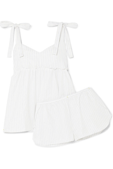 Jackie Metallic Striped Cotton Pajama Set in White