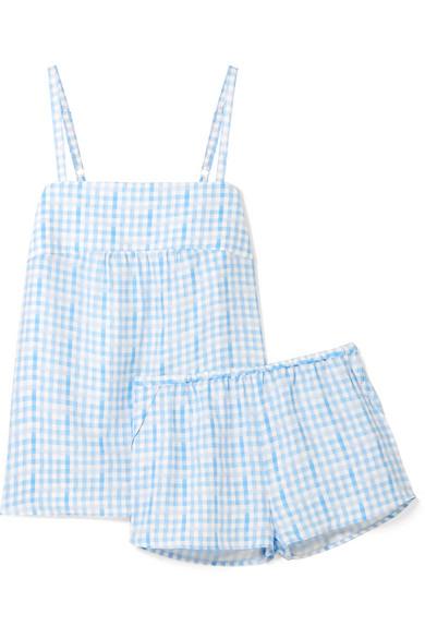 Three J NYC - Jolie Checked Silk Pajama Set - Blue