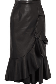 Rumba wrap-effect ruffled leather skirt