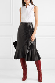 Michael Kors Collection Rumba wrap-effect ruffled leather skirt