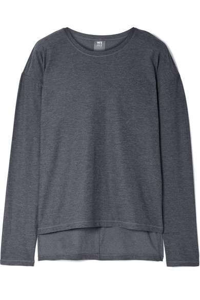WE/ME The Foundation Asymmetric Stretch-Jersey Top in Charcoal