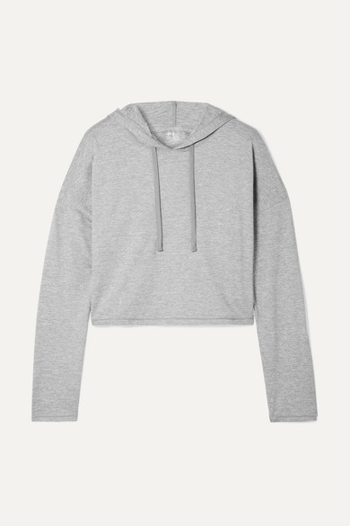 WE/ME The Zen Stretch-Jersey Hoodie in Gray