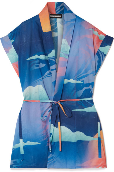 Double Rainbouu - Printed Cotton-voile Kimono - Blue