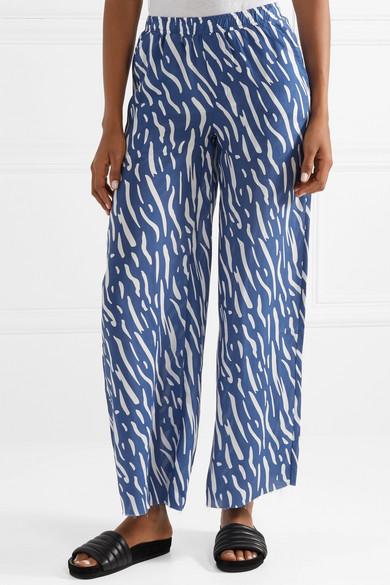 Printed Washed-satin Wide-leg Pants - Blue Double Rainbouu X2WtcAkx