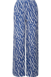 Double Rainbouu Printed washed-satin wide-leg pants