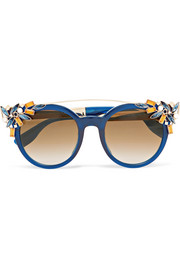 Jimmy Choo Embellished cat-eye acetate sunglasses