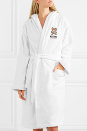 Appliquéd hooded cotton-blend terry robe