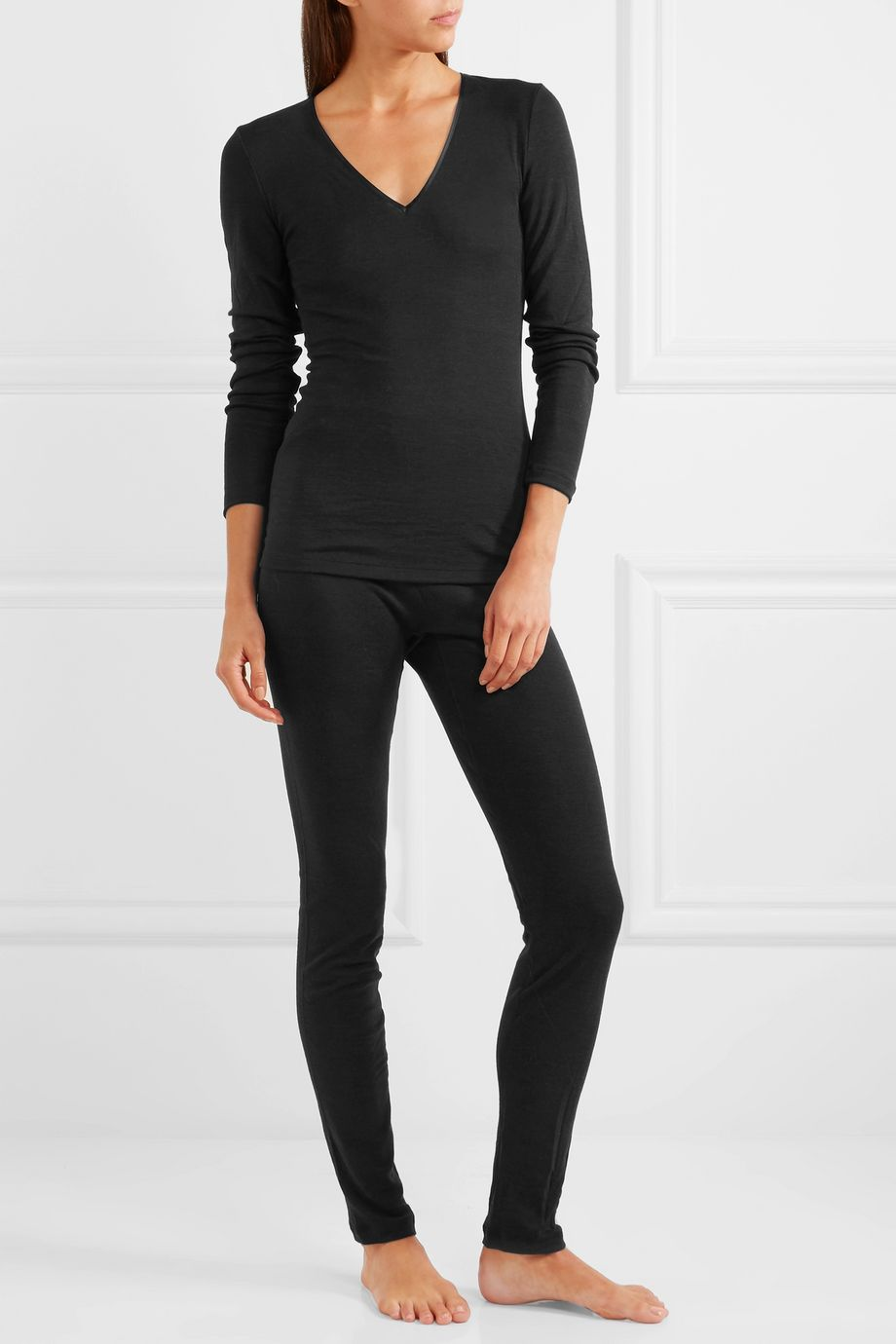 Hanro Merino wool and silk-blend jersey leggings