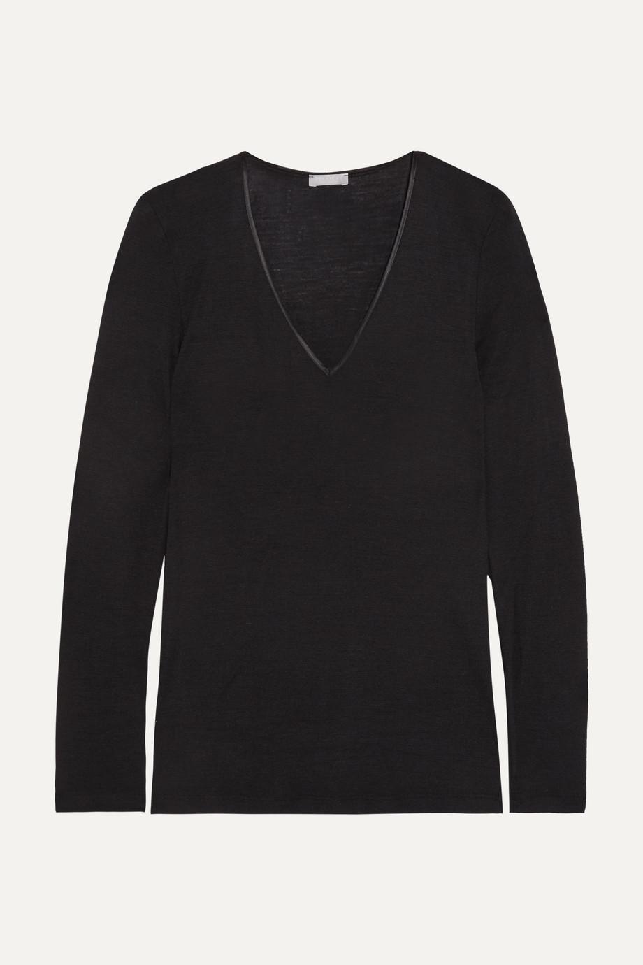 Hanro Merino wool and silk-blend jersey top