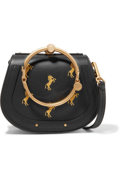 NILE BRACELET SMALL EMBROIDERED LEATHER AND SUEDE SHOULDER BAG