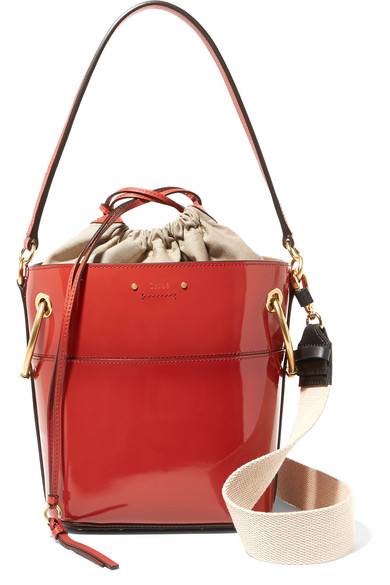 Chloé - Roy Small Glossed-leather Bucket Bag - Red