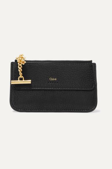chloe female chloe drew texturedleather cardholder black