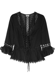 Charo Ruiz Edda crocheted lace-paneled cotton-blend kaftan